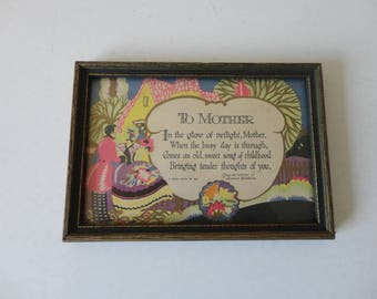 """VINTAGE framed 1927 BUZZA PRINT - lawrence hawthorne """"to mother"""""""