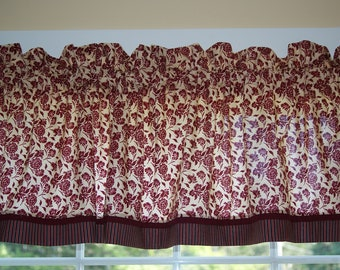"""Red Garnet Off White Toile Valance 17"""" x 81""""  Can Alter Curtain Window Treatment"""