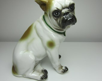 Pretty Porcelain Bulldog - Light Brown/Tan and White - Great Vintage Vibes! A Perfect Gift for Bulldog Lovers :)