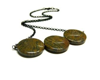 3 Bead Necklace, Rainbow Jasper Necklace, Modern Necklace, Brown Jasper, Etsy Necklace, Black Necklace, Boho Necklace, Choker
