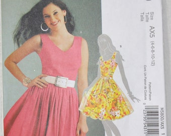 "Sz  (AX5) 4 6 8 10 12  Bust 29.5""- 34"" McCall's  Sewing Pattern M5800 Dress and Sash Fitted Bodice Princess Seams"