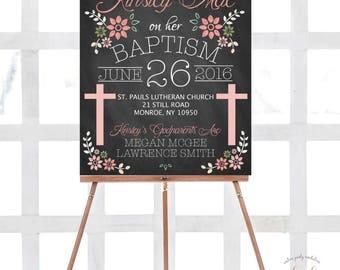 Custom Baptism Chalkboard Sign, Baptism Baby Girl, Godparents Chalkboard Sign, Baby Girl Baptism Sign, Baptism Sign, Christening Sign