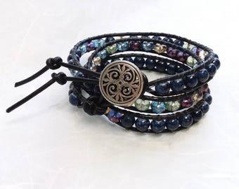 Bead Wrap Bracelet Blue