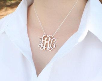 "Monogram Necklace 1.25""- Personalized silver Monogram necklace - 925 Sterling silver necklace"