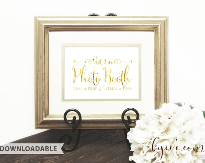 Photo Booth Wedding Sign, Gold Script, Please Sign, Downloadable, Print it yourself.