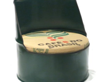 British Racing Green Reclaimed Oil Drum Chair Seat - Short