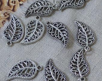 6pcs set silver Paisley leaf charm
