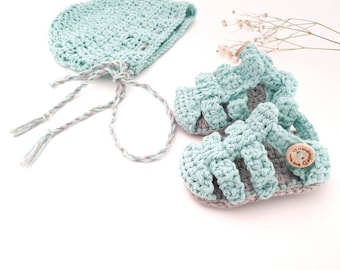 Baby set, baby sandals, cotton hood, crochet booties, crochet hood, newborn gift, soft shoe,