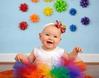 Rainbow Tutu, Baby Tutu and headband, Circus tutu, Prop Tutu, circus tutu Halloween clown, rainbow Birthday Tutu, rainbow birthday tutu UD