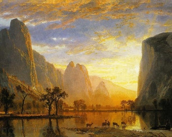 Excellent Hand Painted landscape painting Albert Bierstadt Valley of the Yosemite  for living room Decoration with deer wall art  or gift