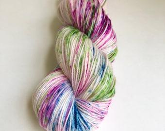 Artists Garden colorway hand dyed sock yarn