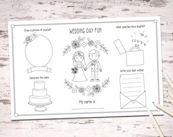 Wedding Activity Placemats PDF - printable digital file