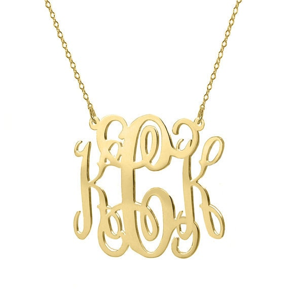 Gold monogram necklace 125 inches 18k gold plated pendant gold monogram necklace 125 inches 18k gold plated pendant select any initial made with 925 silver and gold plated aloadofball Gallery
