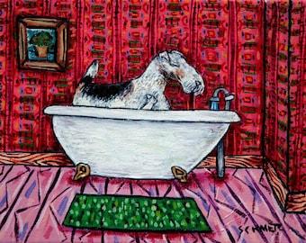 FOX wire terrier bathroom bath dog art PRINT JSCHMETZ pop folk abstract modern 11x14