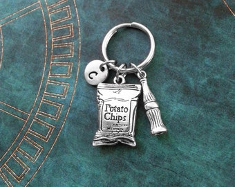 Potato Chips Keychain SMALL Bag of Potato Chips Keyring Personalized Cola Keychain Junk Food Keychain Soda Keychain Soda Pop Keychain