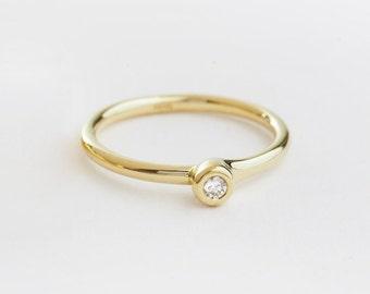 Delicate Diamond Ring, Asymmetrical Diamond Engagement Ring, 14k Gold Stackable Ring, Unique Diamond Ring Women, Diamond Ring