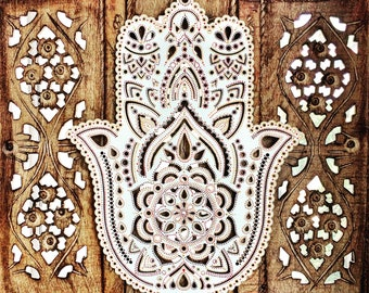 40cm Boho Hand Painted Wooden Laser Cut Henna Hamsa Hand Wall Hanging (Bohemian Home Decor/Art/Interior Design).