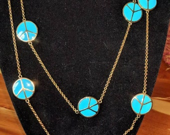 Lauren G. Adams turquoise peace sign station necklace