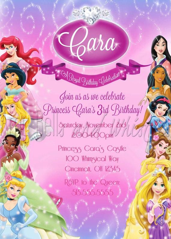 Disney Princess Birthday Invitation Custom Personalized