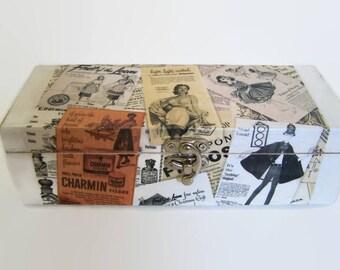 Decoupage Wooden Tea Box - Retro Fashion Labels - Black and White Storage Box - Desktop Tidy - Sewing Box