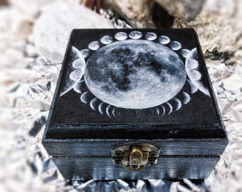 Triple Moon Phases - Handmade and painted wooden box - limited edition signed by the artist
