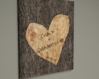 Personalized Wedding Tree Carved Canvas Wall Art - Custom Wedding Wall Canvas Art - Wall Decor - Wedding Wall Decor - Canvas Wedding Art