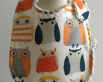 wildwood owls in multi  ~ baby bib ~ dear stella ~ chic couture ~ boutique quality ~ baby bib from lillybelle designs