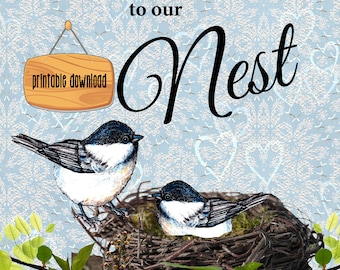 Birds in Nest Poster, Chickadee, Family,  Download file, Instant print, cute birds, black capped, welcome poster, tree limb, original art