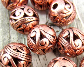 18 Metal beads copper spacer beads open work filigree 10mm boho chic jewerly supply tribal bohemian jewelry supplies 050(W7),