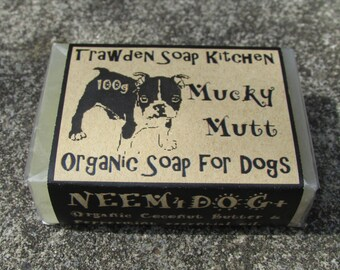 Mucky Mutt,  Organic Soap Shampoo for Dogs , Neem Oil, Coconut Butter. Essential Oil of Peppermint.100g. Handmade in Pendle, Lancashire, UK