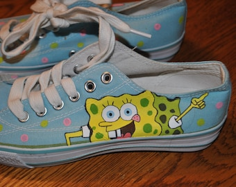 For Sale size 6 Sponge Bob and Patrick sneakers hand painted  READY TO SHIP