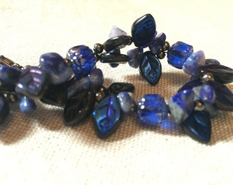 Evening Blues - handmade beaded bracelet