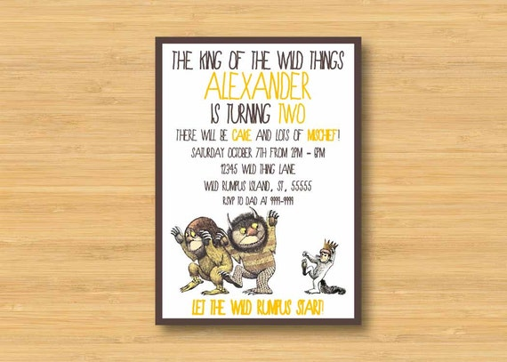 Where the Wild Things Are Invitation Printable 5x7