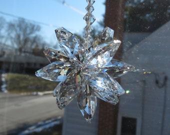 Medium Swarovski Crystal Starburst, Cluster Swarovski Crystals, Made With 20mmClear Octagons, For Home Window, Swarovski Clear SunCatcher