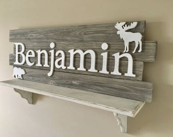 Nursery wood sign, Woodland Nursery decor, Nursery name sign, nursery wood name, nursery decor, nursery wall letters