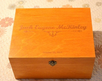 Personalized Keepsake, Customized baby keepsake, Memory Box, Christening Box, Baptism Box, Wooden Box, Gift for Baby, Newborn gift, Bebe