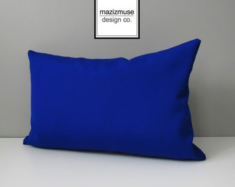 Royal Blue Outdoor Pillow Cover, Decorative Pillow Case, Solid True Blue Sunbrella Cushion Cover, Modern Throw Pillow Cover, Sapphire