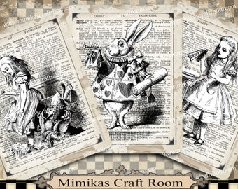 Alice Printable Paper Alice in Wonderland digital cards 4x5 inches Instant download alice party images background paper decorations