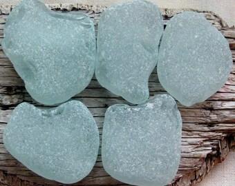 Authentic Sea Glass 5 Pcs | Genuine Beach Glass | Large Sea Glass | Aqua Sea Glass | Surf Tumbled Glass | Mermaids Tears | Chunky Sea Glass