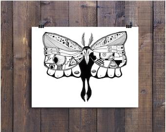 Moth Art, Moth Drawing, Butterfly Illustration, Pen and Ink Drawing, Black and White Art, Ink Drawing, Insecti Art, Fun Art, Ink Art
