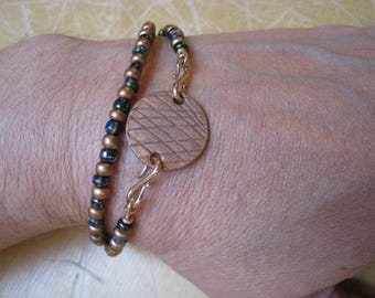 Copper and Blue Glass Seed Bead Wrap Bracelet with Copper Disk - Beaded Bracelet - Copper Bracelet
