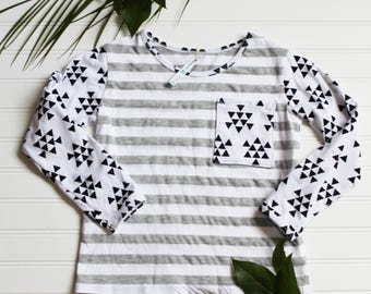 6C Boys Adaptive Feeding Tube T-shirt, Trendy Grey Striped T-shirt for Boys, G-Tube Functional Clothing,