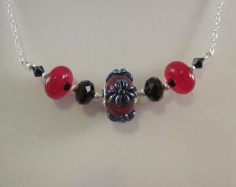 "Sterling Silver Artisan Created ""Red Jet""-Lampwork Glass Necklace - Swarovski Crystal, Glass, Necklace, Handmade, Unique, OOAK, SRAJD"