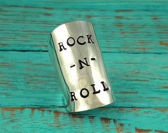 Spoon Ring Hand Stamped Rock n' Roll Your Size MR0501-BSRR