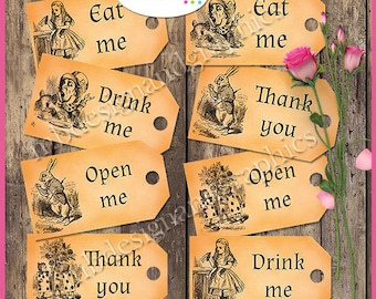 Alice in wonderland tags, party tags, printable tags, vintage tags, labels, tea party tags, eat me tags, drink me tags, INSTANT DOWNLOAD