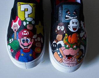 Mario and Friends Customized Shoes, Mario vs Bowser Custom Shoes, Super Mario Shoes