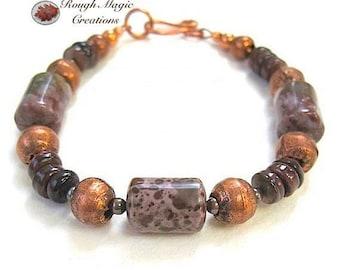 Earthy Jasper Gemstone Bracelet, Burgundy Mauve Ocean Jasper Stone, Rustic Copper, Jewelry for Women & Men, African Tribal Copper Beads B197