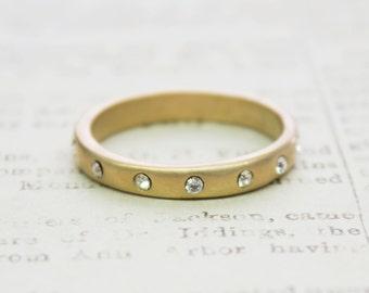 Vintage 1980s Brushed Gold Stacking Band Ring Swarovski Crystals Made in USA #R3888