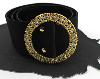 Vintage Gold & Rhinestone Buckle on Black Belt