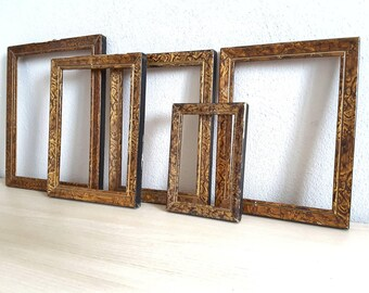Wooden Rustic Set of 5 Vintage Photo / Painting Frames On The Wall With Glass ~ Shabby Chic Frames ~ Wall Decor